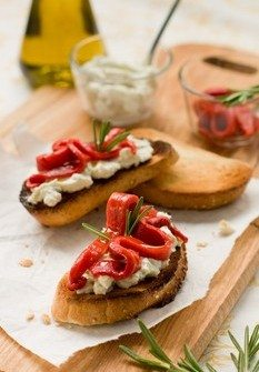 Roasted Red Bell Pepper and Gorgonzola Cheese Bruschetta