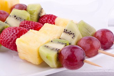 Grilled Fruit Brochette with Two Sauces