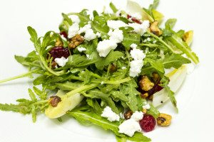 Chicory and organic rocket salad and goat cheese