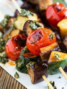 Chef Eric's Smooth Grilled Mini Vegetable Kabobs with Pesto
